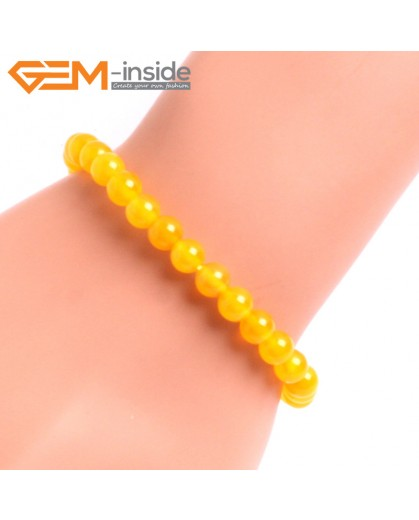 "G10643 6mm Round Yellow Agate Natural Stone Healing Elastic Stretch Energy Bracelet 7"" Fashion Jewelry Bracelets for Women"