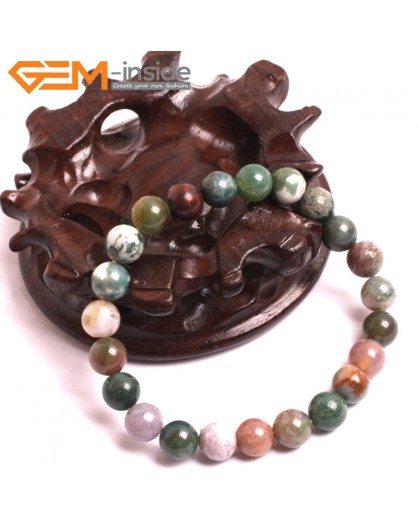 "G10663 8mm Round Indian Agate Natural Stone Healing Elastic Stretch Energy Bracelet 7"" Fashion Jewelry Bracelets for Women"