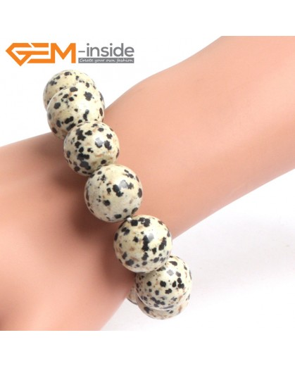 "G10688 16mm Round Dalmatian Jasper Natural Stone Healing Elastic Stretch Energy Bracelet 7"" Fashion Jewelry Bracelets for Women"