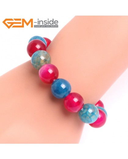 """G10750 12mm Round Mutil-Color Agate Natural Stone Healing Elastic Stretch Energy Bracelet 7"""" Fashion Jewelry Bracelets for Women"""