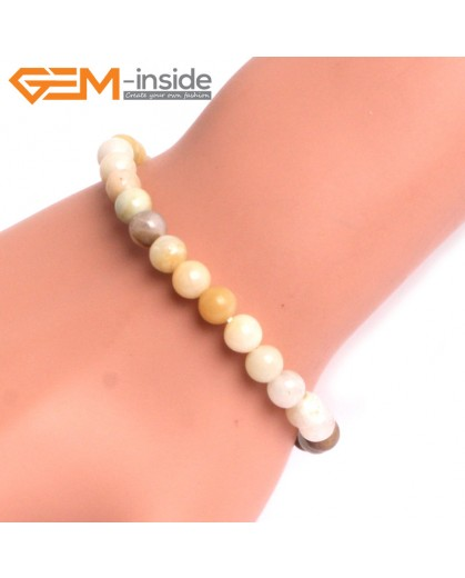 "G10759 6mm Round Mutil-Color Amazonite Natural Stone Healing Elastic Stretch Energy Bracelet 7"" Fashion Jewelry Bracelets for Women"
