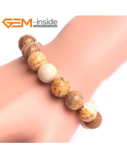 """G10810 12mm Round Picture Jasper Natural Stone Elastic Stretch Healing Brcelet 7"""" Fashion Jewelry Jewellery Bracelets for Women"""