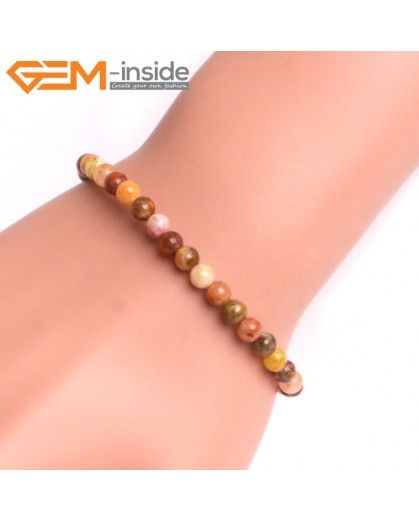"G10832 4mm Round Mixed Color Ocean Jasper Natural Stone Elastic Stretch Healing Bracelet 7"" Fashion Jewelry Jewellery Bracelets for Women"