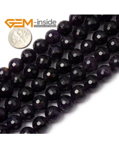 """G1427 12mm Round Faceted Gemstone Purple Amethyst Beads Jewelry Making Loose Beads15"""" Natural Stone Beads for Jewelry Making Wholesale"""