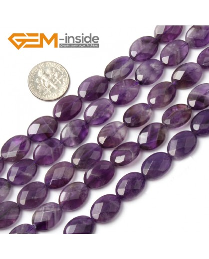 "G1438 10x14mm Oval Faceted Purple Amethyst Beads Jewelry Making Loose Beads 15"" Free Shipping Natural Stone Beads for Jewelry Making Wholesale"