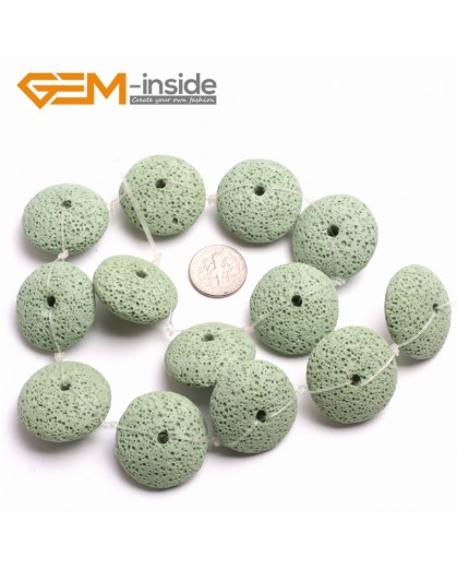 """G15005 Green 27mm Disc Shape Lava Rock Beads Jewellery Making Gemstone Beads 15"""" 9 Colors Natural Stone Beads for Jewelry Making Wholesale"""