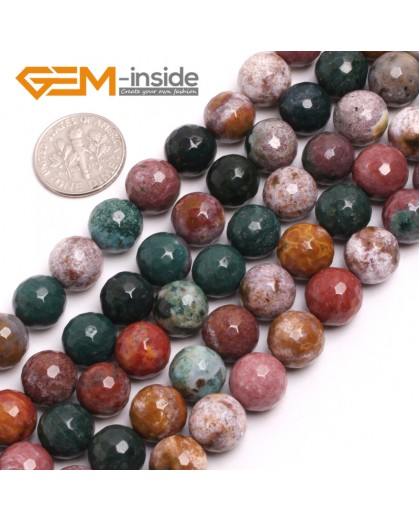"""G15033 10mm Natural Round Facetd Ocean Jasper Beads Jewellery Making Loose Beads15"""" Gbeads Natural Stone Beads for Jewelry Making Wholesale"""