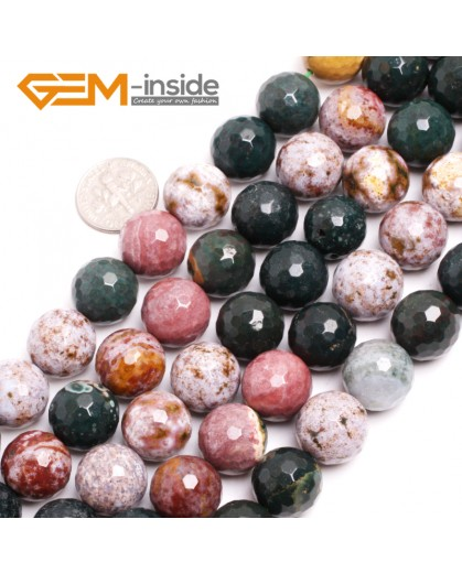 """G15035 14mm Natural Round Facetd Ocean Jasper Beads Jewellery Making Loose Beads15"""" Gbeads Natural Stone Beads for Jewelry Making Wholesale"""