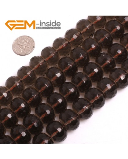 "G15049 12x16mm Natural Rondelle Faceted Smoky Quartz Jewelry Making Gemstone Loose Beads 15"" Natural Stone Beads for Jewelry Making Wholesale"