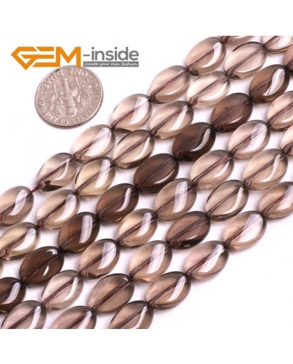 """G15051 8x12mm (Twist)  Gemstone Smooth Faceted Smoky Quartz Jewelry Making Loose Beads 15"""" Natural Stone Beads for Jewelry Making Wholesale"""