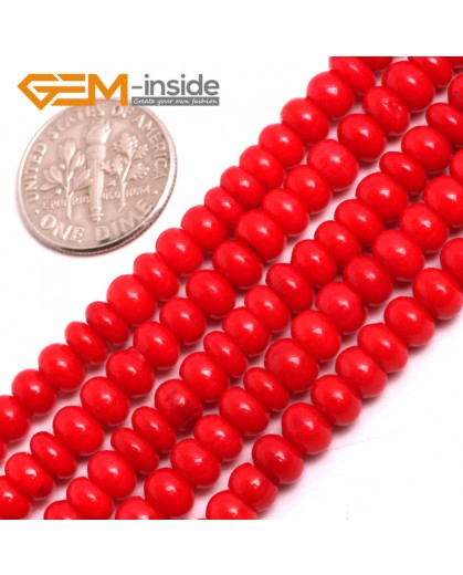 "G15054 3x5mm Rondelle Red Coral Beads Jewelry Making Gemstone Loose Beads Strand 15"" Gbeads Natural Stone Beads for Jewelry Making Wholesale"