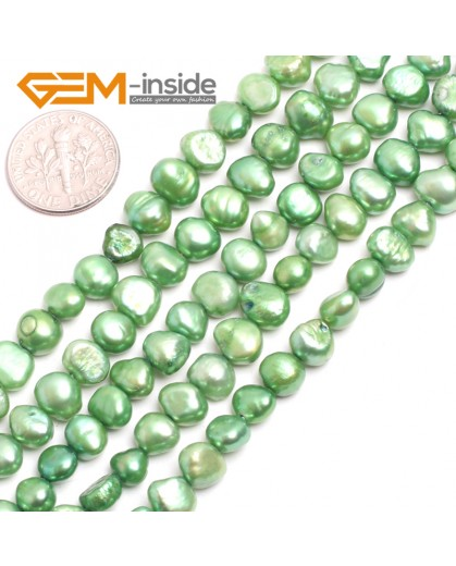 "G15096 green 6-7mm Freeform Cultured Pearl Beads Jewelry Making Gemstone Loose Beads15""Gbeads Natural Stone Beads for Jewelry Making Wholesale"