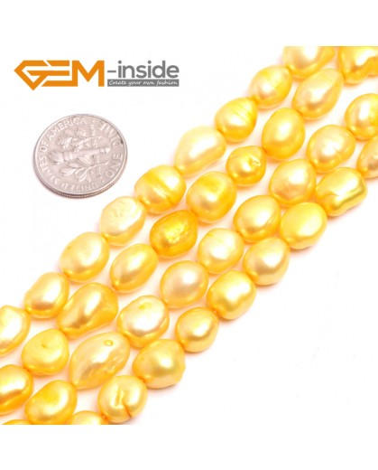 "G15108 Yellow 8-9mm Freeform Pearl Beads Jewelry Making Gemstone Loose Beads 15"" Free Shipping Natural Stone Beads for Jewelry Making Wholesale"