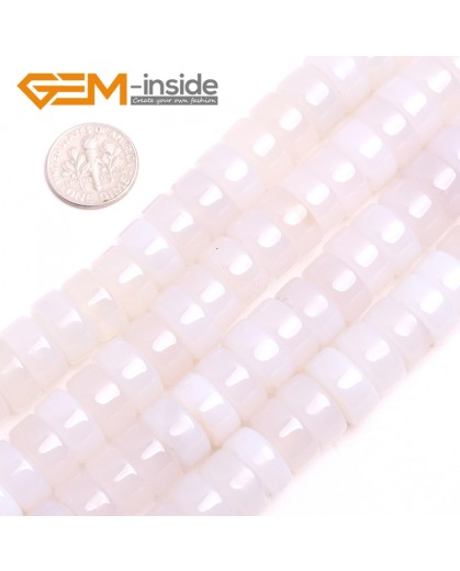 """G15159 8x14mm(White Agate) Natural Rondelle Agate Gemstone Jewelry Making Loose Spacer Beads Strand 15"""" Natural Stone Beads for Jewelry Making Wholesale"""