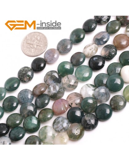 """G15163 10mm Natural Coin Indian Agate Loose Beads Strand 15"""" Jewelry Making Gemstone Beads Natural Stone Beads for Jewelry Making Wholesale"""