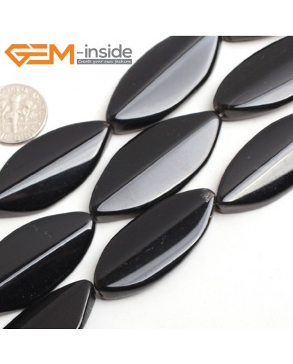 "G15240 18x40mm Oval Marquise Black Agate Onyx Loose Beads Gemstone Strand 15 "" Natural Stone Beads for Jewelry Making Wholesale"