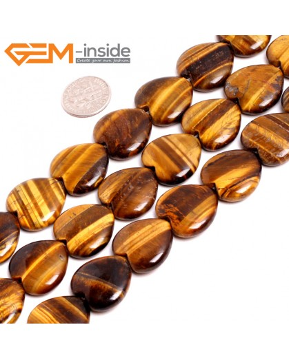 "G15243 20mm Heart Yellow Tiger Eye  Loose Stone Beads Gemstone Strand 15"" Natural Stone Beads for Jewelry Making Wholesale"