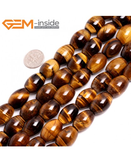 "G15244 13x18mm Rice Yellow Tiger Eye Loose Gemstone Beads Strand 15 "" Natural Stone Beads for Jewelry Making Wholesale"