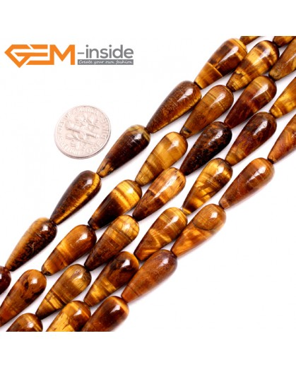 "G15246 8x20mm Drop Yellow Tiger Eye Loose Beads Gemstone Strand 15 "" Natural Stone Beads for Jewelry Making Wholesale"