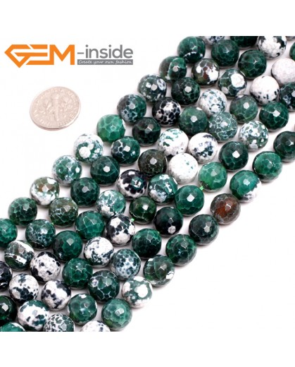 "G15247 10mm Round  Green Faceted Fire Aagte Loose Beads Gemstone Strand 15 "" Stone Beads for Jewelry Making Wholesale"