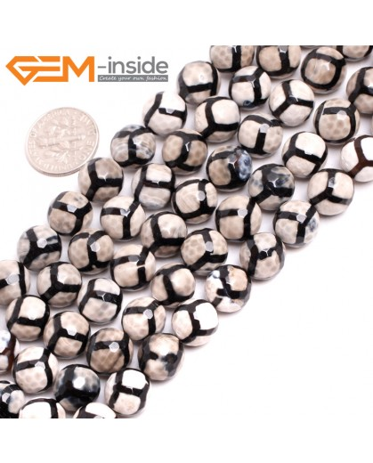 "G15248 10mm Round  Football White Black Faceted Fire Aagte Loose Beads Gemstone Strand 15"" Stone Beads for Jewelry Making Wholesale"
