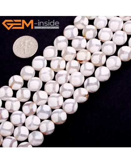 "G15250 10mm Round  Faceted White Football Fire Aagte Loose Beads Gemstone Strand 15 "" Stone Beads for Jewelry Making Wholesale"