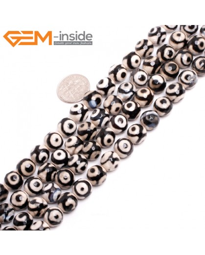 "G15251 10mm Round Faceted White Black Eye Fire Aagte Loose Beads Gemstone Strand 15 "" Stone Beads for Jewelry Making Wholesale"