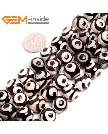 "G15255 12mm Round Faceted White Black Eye Fire Aagte Loose Beads Gemstone Strand 15 "" Stone Beads for Jewelry Making Wholesale"