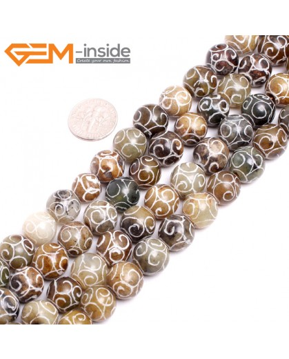 "G15257 12mm Round Carved Mixed Color Nephrite Hua Show Jade Loose Beads Gemstone Strand 15"" Natural Stone Beads for Jewelry Making Wholesale"