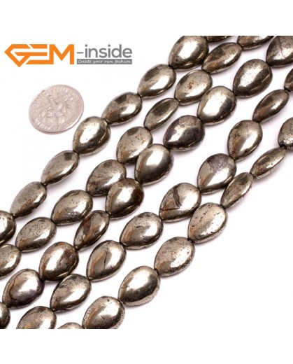 "G15258 10x14mm Flat Drop Silver Pyrite Stone Loose Beads Gemstone Strand 15"" Natural Stone Beads for Jewelry Making Wholesale"