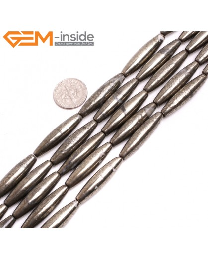 "G15259 8x30mm Rice Silver Pyrite Loose Beads Gemstone Strand 15 "" Natural Stone Beads for Jewelry Making Wholesale"