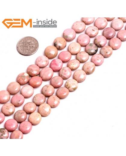 "G15260 10mm Coin Pink Natural Rhodonite Beads Gemstone Strand 15"" Natural Stone Beads for Jewelry Making Wholesale"