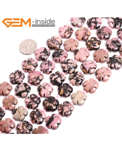 "G15261 15mm Flower Shape Pink Natural Rhodonite Loose Beads Gemstone Strand 15 "" Natural Stone Beads for Jewelry Making Wholesale"