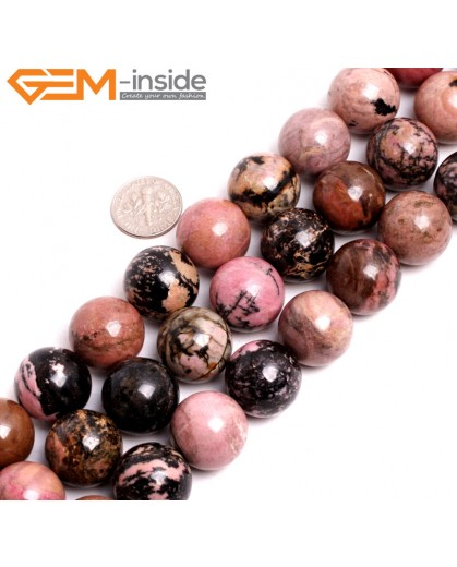 "G15263 18mm Round Pink Natural Rhodonite Loose Beads Gemstone Strand 15 "" Natural Stone Beads for Jewelry Making Wholesale"