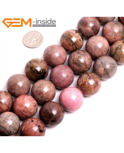 "G15264 20mm Round Pink Natural Rhodonite Loose Beads Gemstone Strand 15 "" Natural Stone Beads for Jewelry Making Wholesale"