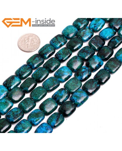 "G15268 10x12mm Rectangle Dyed Green Chrysocolla Loose Beads Stone Strand 15 "" Beads for Jewelry Making Wholesale"