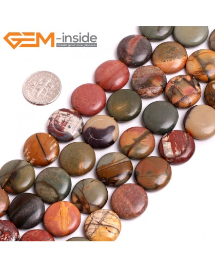 "G15269 10mm Coin Natural Picasso Jasper Loose Beads Gemstone Strand 15 "" Natural Stone Beads for Jewelry Making Wholesale"