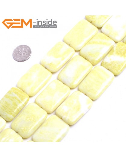 "G15278 20x30mm Natural Rectangle Lemon Green Stone Beads Loose Beads Strand 15 "" Natural Stone Beads for Jewelry Making Wholesale"