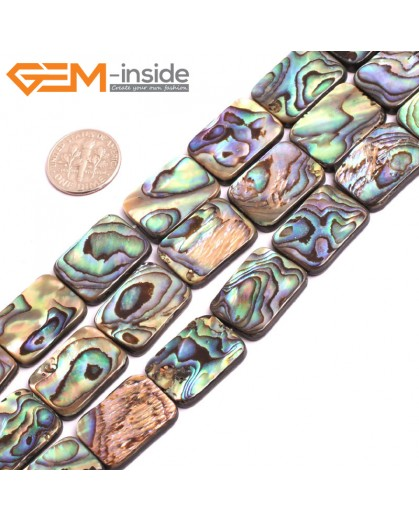 "G15288 15x20mm Rectangle Natual Abalone Shell Beads Gemstone Strand 15 "" Natural Stone Beads for Jewelry Making Wholesale"