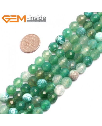"G15290 8mm Round Green  White Faceted Fire Agate stone beads Strand 15 "" Stone Beads for Jewelry Making Wholesale"