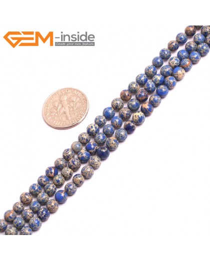 "G15291 4mm Round Lapis lazuli Blue dyed Sediment Jasper Loose Beads strand 15"" Stone Beads for Jewelry Making Wholesale"