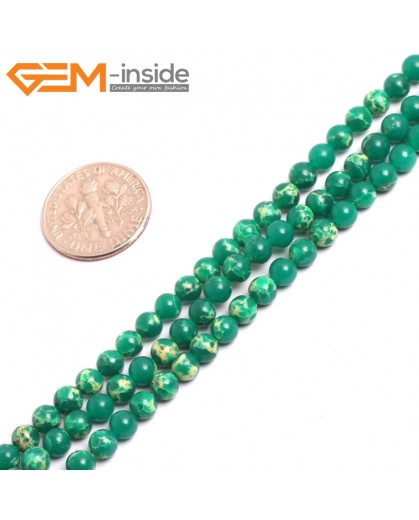 "G15293 4mm Round Dark Green Sea Sediment Jasper Dyed  Gemstone 15"" Stone Beads for Jewelry Making Wholesale"