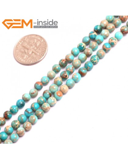 "G15294 4mm Round Turquoise Blue Sea Sediment Jasper Beads Dyed Gemstone 15"" Stone Beads for Jewelry Making Wholesale"