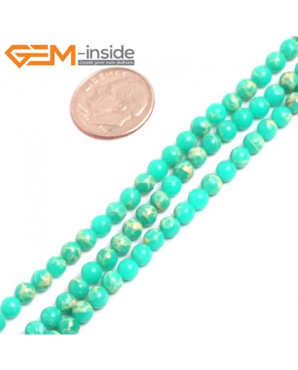 "G15295 4mm Round Green Sea Sediment Jasper Beads Dyed Color 15"" Stone Beads for Jewelry Making Wholesale"