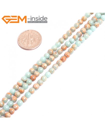 "G15296 4mm Round Light Turquoise Blue Sea Sediment Jasper Beads Dyed Color 15"" Stone Beads for Jewelry Making Wholesale"