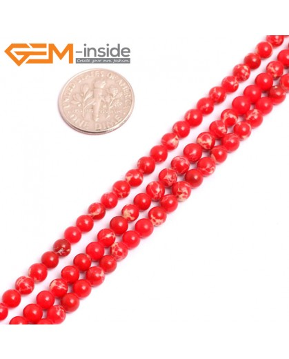 """G15299 4mm Round Red Sea Sediment Jasper Beads Dyed Color 15"""" Stone Beads for Jewelry Making Wholesale"""