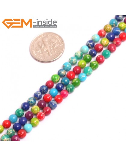 "G15301 4mm Round Muti-Color  mixed color Sea Sediment Jasper Beads Dyed color 15"" Stone Beads for Jewelry Making Wholesale"