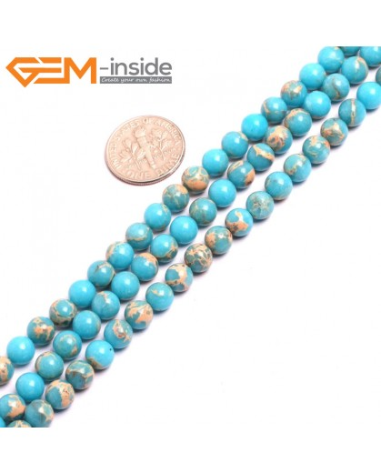 "G15303 6mm Round Blue Sea Sediment Jasper Beads Dyed Color 15"" Beads for Jewelry Making Wholesale"
