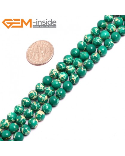 "G15304 6mm Round Dark Green Sea Sediment Jasper Beads Dyed color 15"" Beads for Jewelry Making Wholesale"