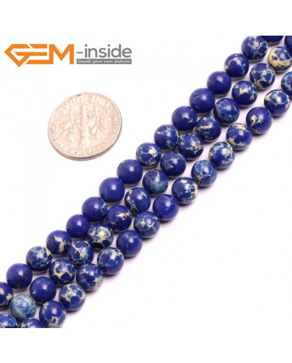 "G15305 6mm Round Lapis Lazuli Blue Sea Sediment Jasper Beads Dyed color 15"" Beads for Jewelry Making Wholesale"